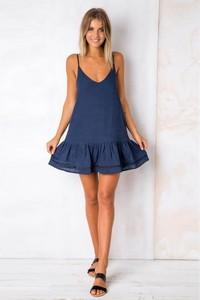 Granatowa sukienka Ivet.pl w stylu casual z bawełny