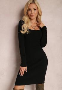 Czarna sukienka Renee z dzianiny z długim rękawem w stylu casual
