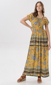 Żółta sukienka born2be maxi w stylu boho