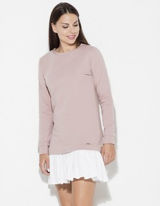 Różowa sukienka LENITIF mini z długim rękawem