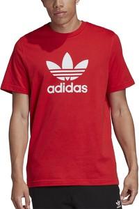 Czerwony t-shirt Adidas z bawełny