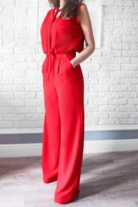 Czerwony kombinezon Bien Fashion z długimi nogawkami