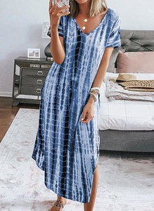 Niebieska sukienka Cikelly z krótkim rękawem
