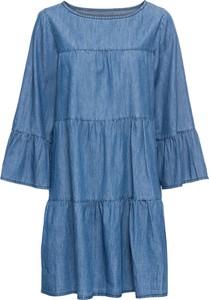 Bonprix rainbow sukienka z materiału w optyce dżinsu