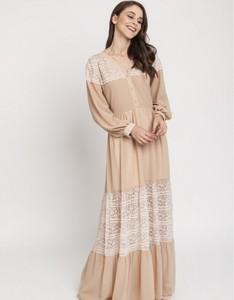 Sukienka Milena Płatek maxi z dekoltem w kształcie litery v