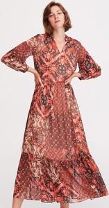 Brązowa sukienka Reserved z długim rękawem w stylu casual z dekoltem w kształcie litery v