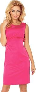 Różowa sukienka NUMOCO z okrągłym dekoltem w stylu casual mini