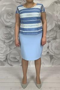 Sukienka Dorota z tkaniny midi z okrągłym dekoltem
