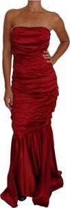 Czerwona sukienka Dolce & Gabbana maxi z satyny