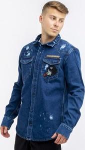 Niebieska kurtka Urban Selection z bawełny z nadrukiem
