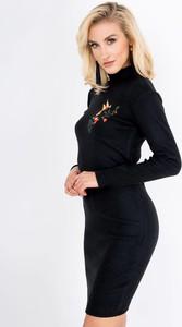 Czarna sukienka Zoio midi z golfem z długim rękawem