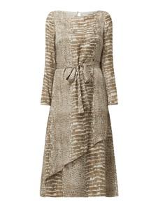 Sukienka Hugo Boss z okrągłym dekoltem z jedwabiu z długim rękawem
