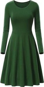 Zielona sukienka Cikelly w stylu casual midi z długim rękawem