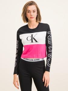 Bluzka Calvin Klein z długim rękawem z okrągłym dekoltem w młodzieżowym stylu