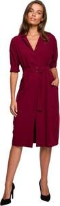 Czerwona sukienka Style z dekoltem w kształcie litery v z tkaniny z długim rękawem