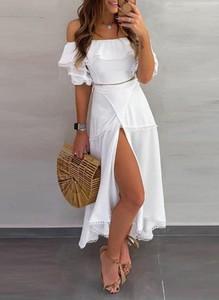 Sukienka Sandbella z odkrytymi ramionami maxi hiszpanka