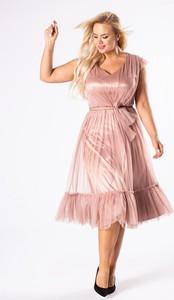 Różowa sukienka Ptak Moda z tiulu midi na ramiączkach