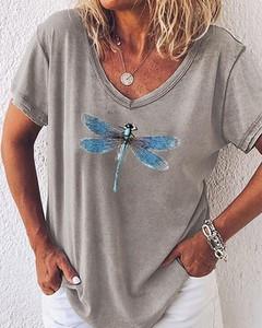 T-shirt Kendallme z krótkim rękawem w stylu casual z dekoltem w kształcie litery v