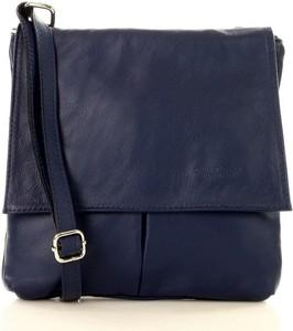 Niebieska torebka GENUINE LEATHER na ramię w młodzieżowym stylu ze skóry