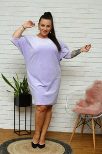 Sukienka KARKO z dresówki z długim rękawem mini