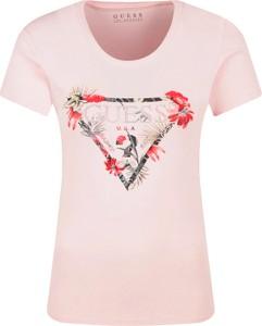 T-shirt Guess w młodzieżowym stylu z nadrukiem z krótkim rękawem