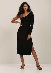 Czarna sukienka Renee z okrągłym dekoltem midi z długim rękawem