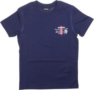 Granatowa koszulka dziecięca Diesel dla chłopców z krótkim rękawem z bawełny
