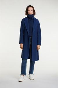 Granatowy płaszcz OUI w stylu casual