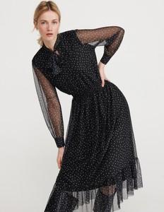 Czarna sukienka Reserved z żabotem maxi rozkloszowana