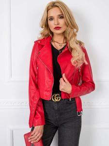 Czerwona kurtka Sheandher.pl krótka w stylu casual