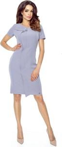 Niebieska sukienka Bergamo mini z krótkim rękawem ołówkowa
