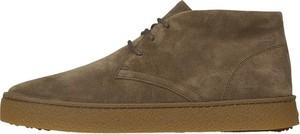 Brązowe buty zimowe Hogan sznurowane ze skóry