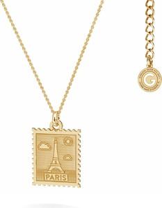 GIORRE Srebrny naszyjnik znaczek pocztowy z Paryża, srebro 925 : Kolor pokrycia srebra - Żółtym 18K Złotem