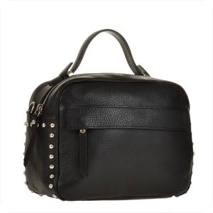 Borse in pelle elegancka torebka listonoszka kuferek czarna z ćwiekami