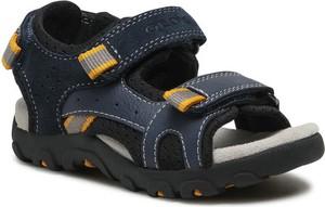 Czarne buty dziecięce letnie Geox dla chłopców na rzepy