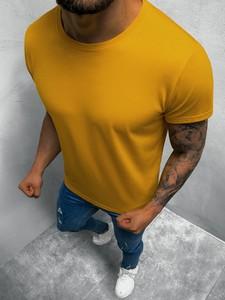 Żółty t-shirt ozonee.pl w stylu casual z krótkim rękawem