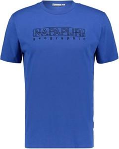 Niebieski t-shirt Napapijri z krótkim rękawem z bawełny