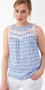 Niebieska bluzka ORSAY bez rękawów z okrągłym dekoltem z tkaniny