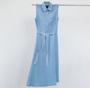 Niebieska sukienka Reserved szmizjerka bez rękawów midi