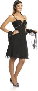 Czarna sukienka Fokus rozkloszowana w stylu glamour