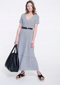 Granatowa sukienka Big Star w stylu casual z krótkim rękawem maxi