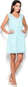 Miętowa sukienka Katrus bez rękawów w stylu casual