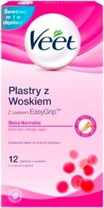 Veet, plastry do depilacji z woskiem dla skory normalnej, 12 szt.
