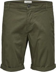 Zielone spodenki Selected Homme w stylu casual z bawełny