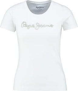 T-shirt Pepe Jeans z krótkim rękawem w młodzieżowym stylu z okrągłym dekoltem