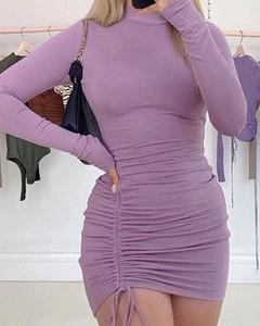 Sukienka Kendallme z długim rękawem mini z golfem