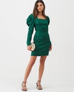 Zielona sukienka V by Very z długim rękawem mini