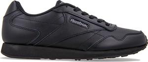 Czarne buty sportowe Reebok w street stylu ze skóry sznurowane