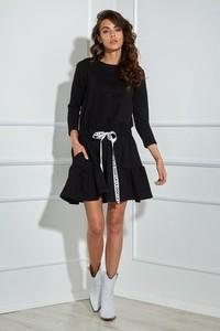 Czarna sukienka Ooh la la w stylu casual rozkloszowana mini