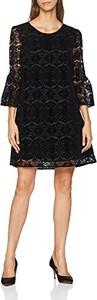 Czarna sukienka amazon.de z długim rękawem trapezowa z okrągłym dekoltem
